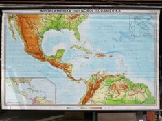 £140 - 30OCT16 - VINTAGE-PULL-DOWN-SCHOOL-MAP-OF-THE-CARIBBEAN-MID-AMERICA-CENTRAL-AMERICA