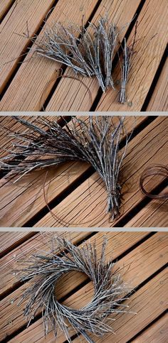 DIY Twig Wreath ~ Shape heavy rusty wire into a 4 circle (old wire coat hanger or use small wreath form). Collect twigs, make bundles using more wire - leave enough wire to fasten to circle. Trim bottoms so bundles are about 6 or 7 long. Make 15 or 20 bundles (this wreath took 17). Attach bundles one at a time, laying them horizontal with the wire frame overlapping each.