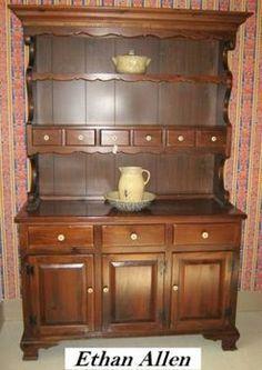 Ethan Allen Vintage 1970s Antique Pine China Cabinet