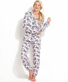 Hello Kitty Comfy N Cozy Notch Collar Top and Pajama Pants Set Collar Top fa8a18877