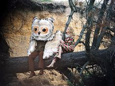 """I just love this picture. It seems to capture Alison and Will so well. Will is the introspective English gentleman in unassuming earth-toned trousers and sweater with a big, gorgeous owl head for a brain. Alison is the shoeless harlequin who could spend all day daydreaming in a tree. They both can just """"be"""" together and enjoy each other's company. True partnership. :)"""