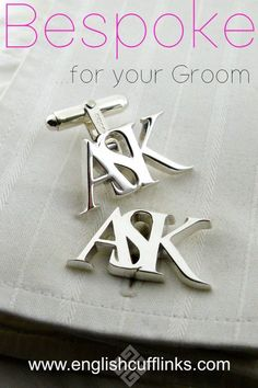 We make these bespoke initial cufflinks entirely by hand so they can be in any style you require. Each pair is unique and can be made in sterling silver, or yellow gold, white gold, or platinum. Wedding Ring For Her, Wedding Pins, Our Wedding, Wedding Shower Gifts, Gifts For Wedding Party, Party Gifts, Wedding Jewellery Inspiration, Wedding Jewelry, Wedding Cufflinks