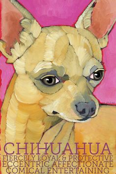 "Chihuahua No. 5  - Art Print 8.5x11"" dog breed pet portrait cream toy teacup animal art"