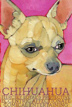 "Chihuahua No. 5  - Art Print 8.5x11"" dog breed pet portrait cream toy teacup animal art"