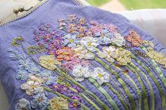Hand Bag flowers Vintage Shabby chic needlework hand embroidered Floral Bag Elegant evening bag purse