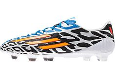 adidas Messi F50 adiZero FG Soccer Cleats - White with Neon Orange...Shop at SoccerPro now!