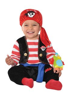 Baby Buccaneer Pirate Costume includes a jumpsuit, head wrap, and plush parrot. This cute baby pirate costume features skull patches and faux gold buttons.