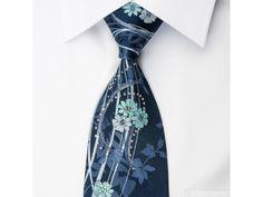 Pierre Cardin Rhinestone Necktie Floral On Blue With Silver Sparkles