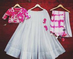 Last Chance for the Last Minute Navratri Shopping @ Anay's! Designer Lehnga Choli, Lehenga Saree Design, Half Saree Lehenga, Lehnga Dress, Indian Lehenga, Ghagra Choli, Indian Dress Up, Indian Gowns Dresses, Indian Fashion Dresses