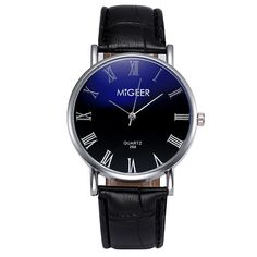 >> Click to Buy << MIGEER Men's Faux Leather Wrist Watches Relogio Masculino Roman Numerals Dial Analog Quartz Watch Mens Clock Business Style #Zer #Affiliate