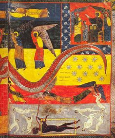 Beatus of Liébana: Commentary on the Apocalypse Medieval Manuscript, Medieval Art, Renaissance Art, Illuminated Manuscript, Dragon, Apocalypse, Art Antique, Book Of Hours, Romanesque