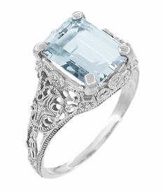 Ohhhlala Platinum Edwardian Filigree Emerald Cut Aquamarine Ring