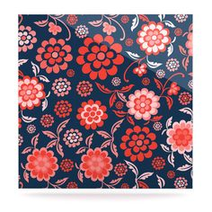 Kess InHouse Nicole Ketchum Cherry Floral Midnight 23 x 23 Square Floor Pillow