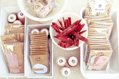 spray painted bread pans - cute idea for displays/bins