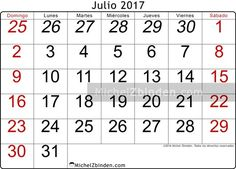 calendario julio 2017 libre de imprimir Oseus domingo Venezuela