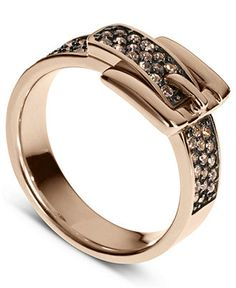 Michael Kors Ring, Rose Gold Pave Crystal Buckle Ring - All Fashion Jewelry - Jewelry & Watches - Macy's