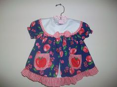 Vintage Toddler Girl Apple Pinafore Apron Dress by LittleMarin