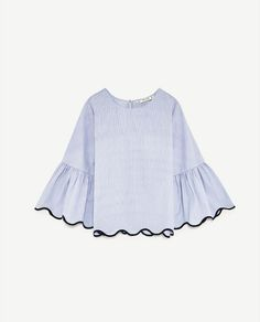 Image 8 of STRIPED TOP WITH SCALLOPED HEM from Zara