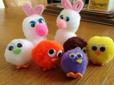 Easter pom poms Pom Poms, Easter, Pink, Decor, Decoration, Easter Activities, Decorating, Pink Hair, Roses