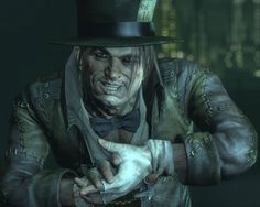 The Mad Hatter combines his obsession with the works of Lewis Carroll with an equally unhealthy fascination with headgear. Utilizing various forms of mind control, Jervis Tetch roams the streets of Gotham City committing crimes to feed his deranged ego. Mad Hatter Character, Game Character, Mad Hatter Batman, Gotham, Batman Arkham Games, Batman Games, Jervis Tetch, Iconic Characters, Fictional Characters