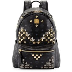 MCM Stark M Stud Medium Backpack ($925) ❤ liked on Polyvore featuring men's fashion, men's bags, men's backpacks, cognac and mcm