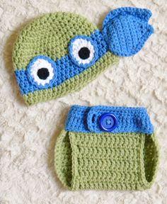 TMNT Ninja Turtles Crochet Baby Hat & Diaper by OhSoVeryKnotty, $25.00