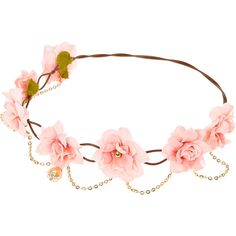 Pink Flower and Gold Faux Pearl Hair Garland ❤ liked on Polyvore featuring accessories, hair accessories, gold flower crown, pink flower garland, flower hair accessories, flower crowns and gold garland