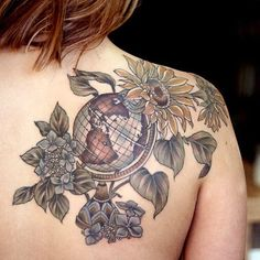 Globe with hydrangeas and sunflowers. Thanks Paige!