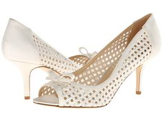 Kate Spade New York Susana White Glitter Grid Fabric/Ivory Satin - Zappos Couture