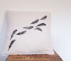 Hand print cushion Feather lino print square