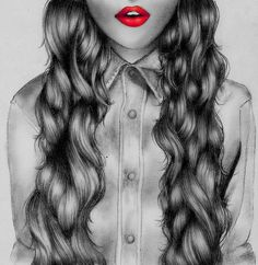 Author unknown. Oh, how I love contrast! The attention of the red lips are so nice. I also love the detail in the hair. Each piece looks completely intricate but individual. The piece of clothing blends in to the background, but when payed attention to, the shading looks nice.