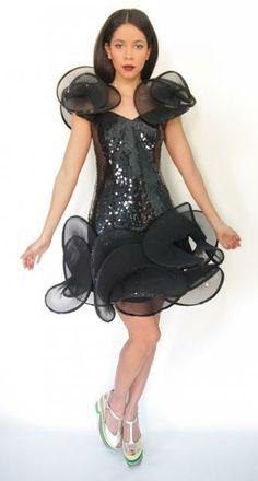 Vtg 80s 90s Black Sequin Avant Garde Fan Wave Accordion Pleat Prom Formal Dress | eBay