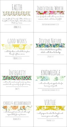 and Courtney: YW Values: Vintage Style - I think I'm going to print these for my girls' room!Brett and Courtney: YW Values: Vintage Style - I think I'm going to print these for my girls' room! Young Women Values, Young Women Lessons, Young Women Activities, Youth Activities, Lds Quotes, Inspirational Quotes, Daughter Of God, Girls Camp, Album