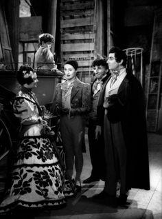 """Maria Casarès, Jean-Louis Barrault, Marcel Pérès & Pierre Brasseur dans """"Les Enfants du Paradis"""" de Marcel Carné 1945"""