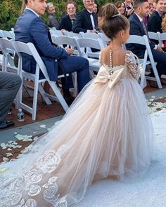 Princess Jewel Long Sleeves Sweep Train Lace Tulle Flower Girl Dresses with Bowk. Princess Jewel Long Sleeves Sweep Train Lace Tulle Flower Girl Dresses with Bowknot Pretty Wedding Dresses, Wedding Dress Trends, Bridal Dresses, Wedding Gowns, Prom Dresses, Elegant Dresses, Sexy Dresses, Summer Dresses, Flowergirl Dress