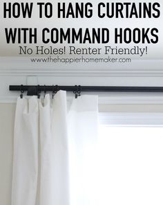 to Hang Curtains without Holes Using Command Hooks How to hang curtains with command hooks.No Holes, Renter Friendly Window Treatments!How to hang curtains with command hooks.No Holes, Renter Friendly Window Treatments! Boho Apartment, Apartment Hacks, Apartment Living, Apartment Curtains, Living Room, Student Apartment Decor, Apartment Door, Living Spaces, Cool Ideas