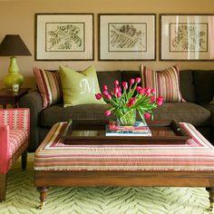 Monogram Pillows - Colors and ottoman Tobi Fairley