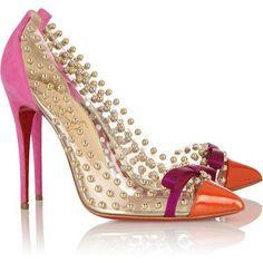 Christian Louboutin 'Bille Et Boule' 100 studded PVC and suede pumps #CL #Louboutin #Heels