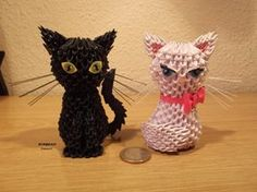 Quilled Cats for halloween decor. (I was thinking more of just the black one, but the white one is ok too i guess)