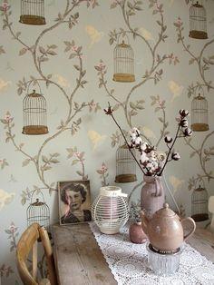 songbird wallpaper climbing roses design with little birds in