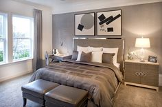 Neutral hues provide a calming atmosphere, perfect for a bedroom. The Florence Model by CalAtlantic Homes.