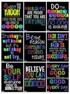 Motivational Quotes Posters for the Classroom Neon Decor Set #motivationalquotesforeducation