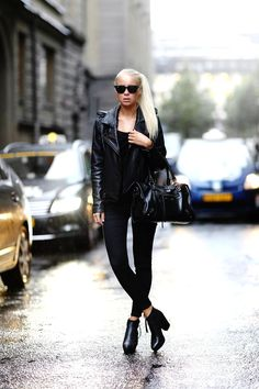 Victoria Tornegren is wearing a leather jacket from FWSS, jeans from TopShop, sunglasses from RayBan and shoes from Acne