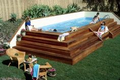 small deck plans for above ground pools - not a fan of pools, but this is pretty cool !