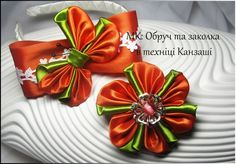 ♡DIY Kanzashi/МК: Бантик з метеликом та заколка канзаші/МК:Бантик с бабо...