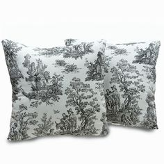 Plymouth Toile 18-inch Decorative Throw Pillows (Set of 2) | Overstock.com Shopping - Great Deals on Throw Pillows
