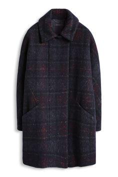Esprit - Wolliger Mantel mit abgedunkeltem Karo im Online Shop kaufen