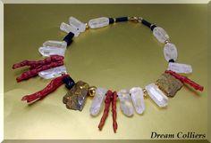 Crazy - Bergkristall & Korallen Unikatschmuck von Dream-Colliers auf DaWanda.com
