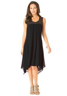 Beaded Hankie Hem Dress by Denim 24/7 | Plus Size Dresses and Suits | Roamans