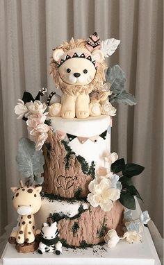 Baby Girl Birthday Cake, Baby Boy Cakes, Baby Shower Cakes, Cool Cake Designs, Marvel Cake, Safari Cakes, Farm Cake, Modern Cakes, Birthday Cakes